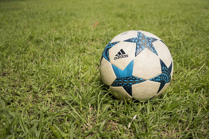 White and blue Adidas soccer ball on grass field