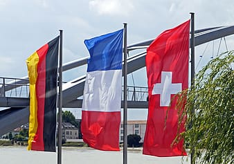Blue white and red flags on poles