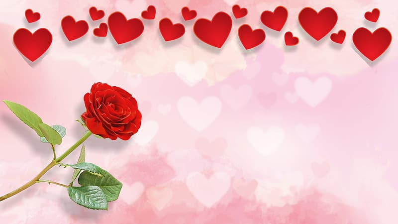 Red rose with red hearts clip art