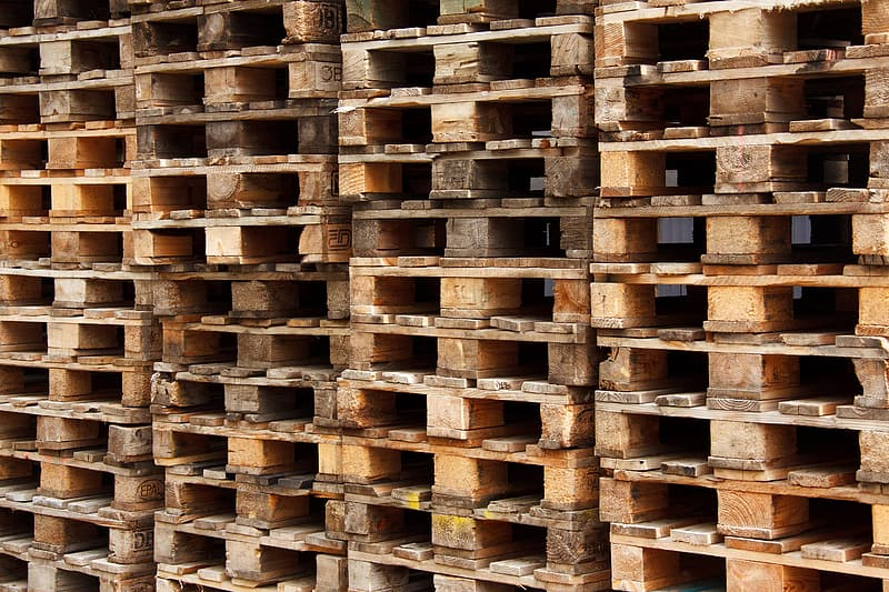 Stack of brown pallets