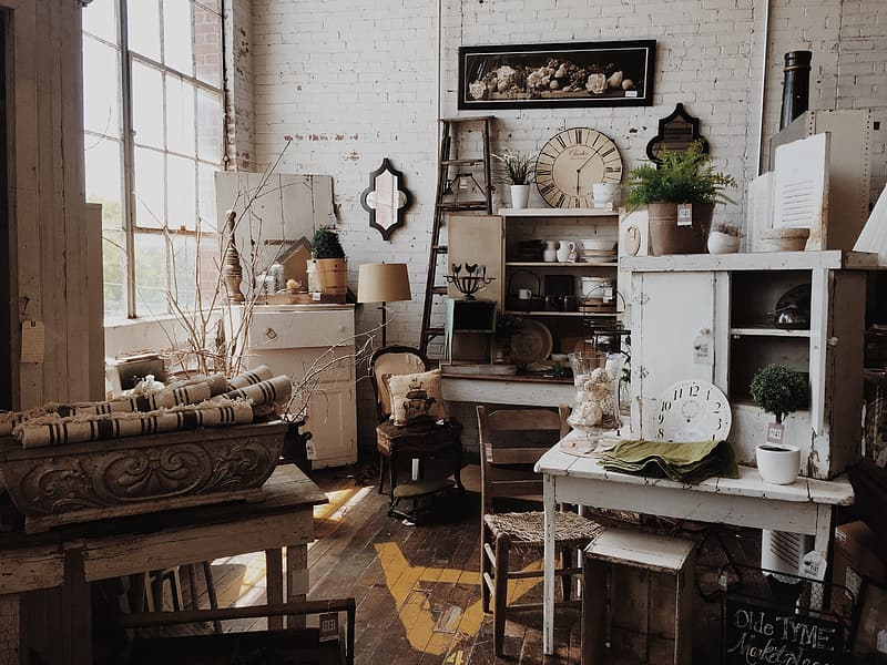 Assorted wooden furniture in the room