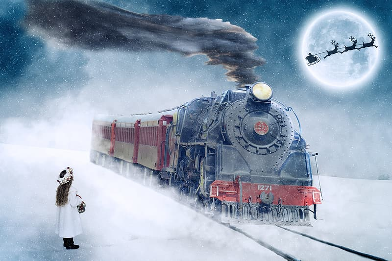 Black and red steam train painting