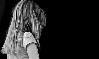 Girl with black background wallpaper