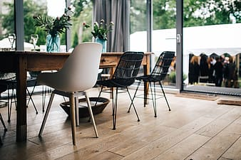 Modern interior with dining table and chairs