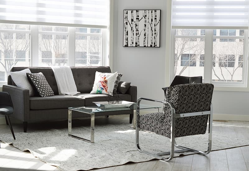 Tufted gray fabric sofa set and coffee table
