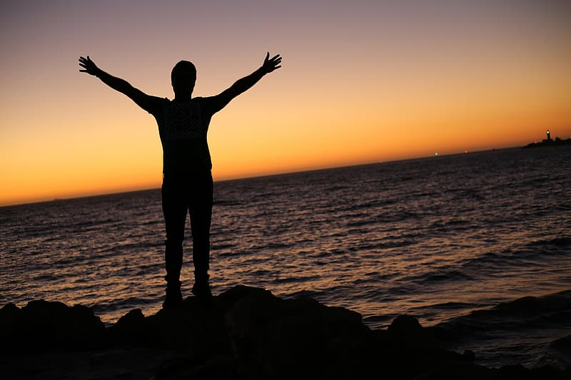 Silhouette photo of person beside seashore raising hand during sunset