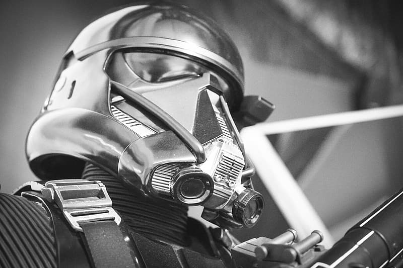 Grayscale photography of Star Wars Stormtrooper
