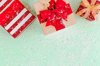 Red and white striped gift box