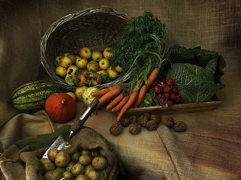 Brown woven basket with fruits