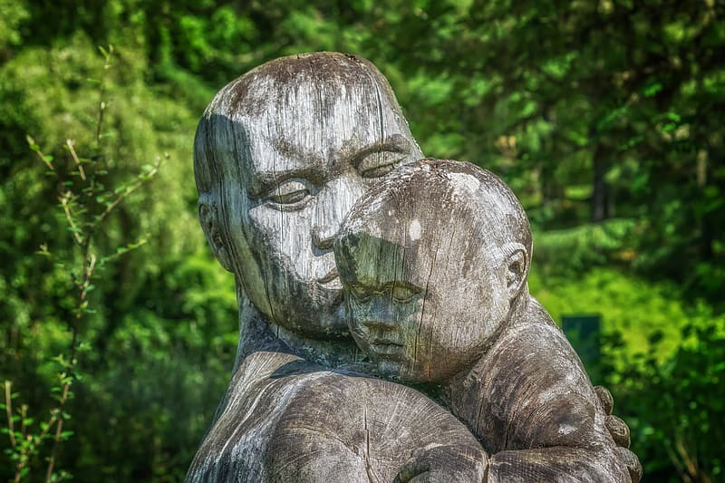 Human and child gray statue