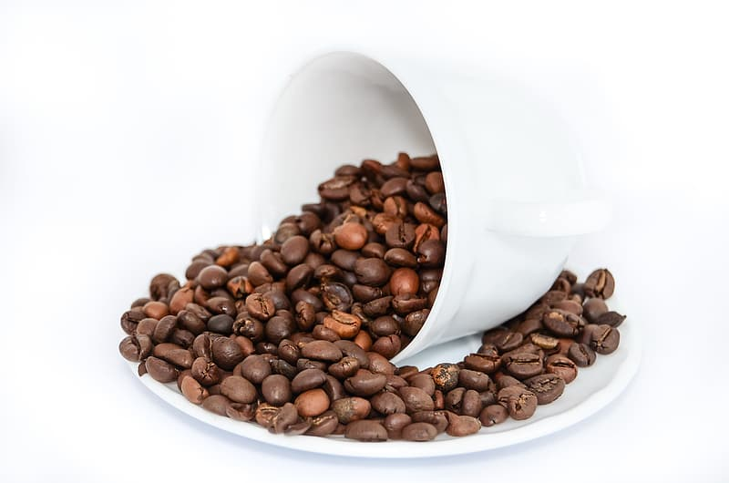 Brown coffee beans on white ceramic plate