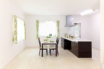 Rectangular brown and white wooden table with chairs dining set
