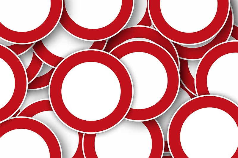 Red and white round illustration