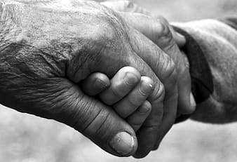 Greyscale photo of man and children holding hands