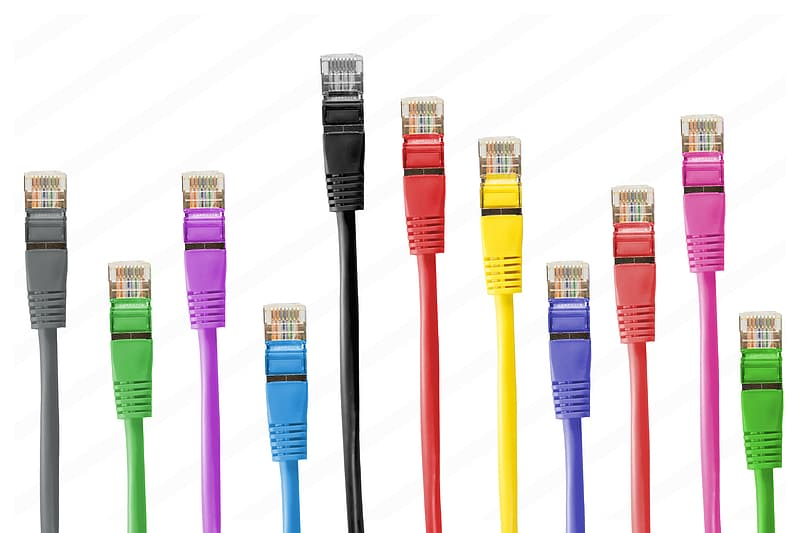 Assorted-color Ethernet cable lot