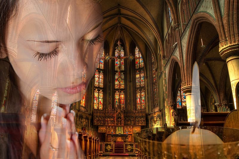 Photo of woman playing with church interior background