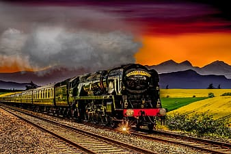 Black and yellow train during sunset illustration