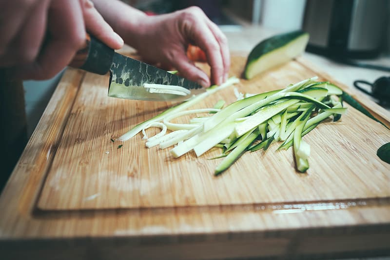 Chopping, board, kitchen, utensils, knife, food, vegetable, cucumber, food and drink, cutting board