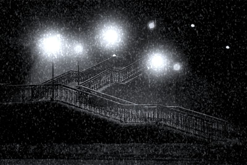 Grayscale photography of staircase during night time
