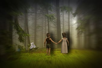 Girl and boy standing in front of tree artwork