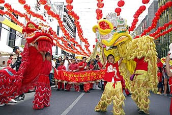 Group of person performing dragon dance on street