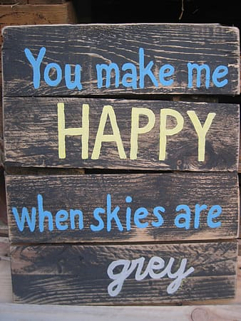 You make me happy when skies are grey signage