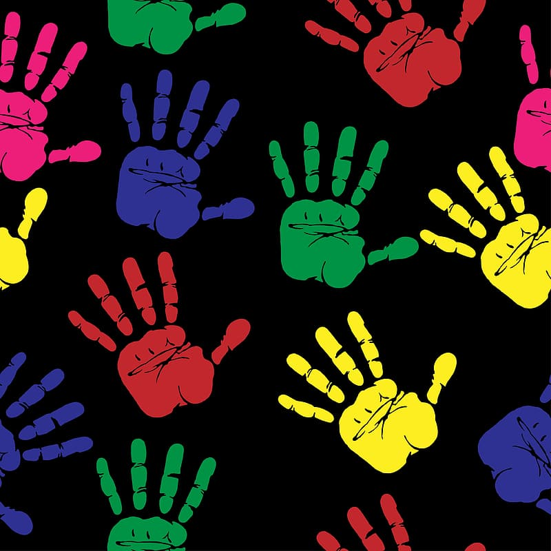 Assorted-color hand paints with black background