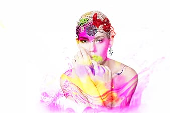 Woman with pink and white powder on her face
