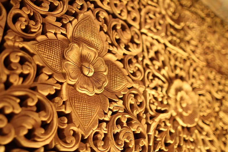 Brown floral embossed decor
