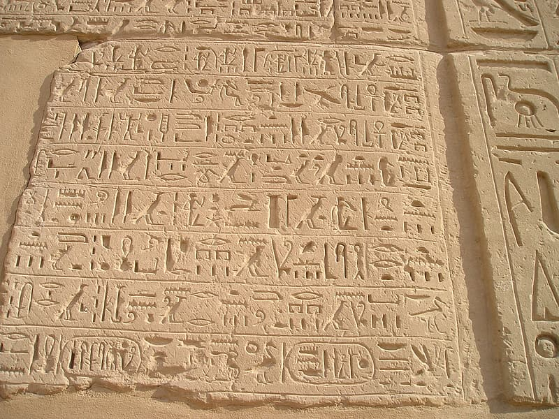 Brown hieroglyphics wall decor
