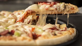 Selective focus of pizza