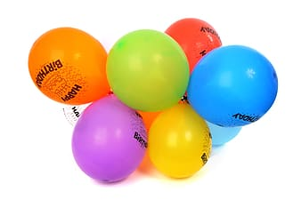 Blue red and yellow balloons