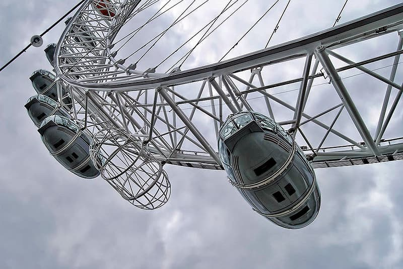 Low angle photography of ferris wheel under cloudy sky during daytime