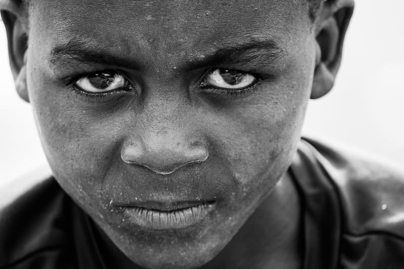 Grayscale photography of boy face