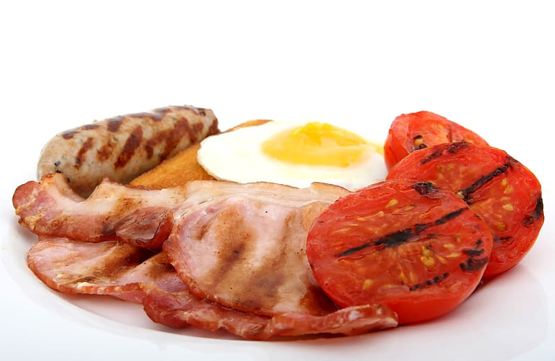 Sausage; bacon and egg with grilled tomatoes