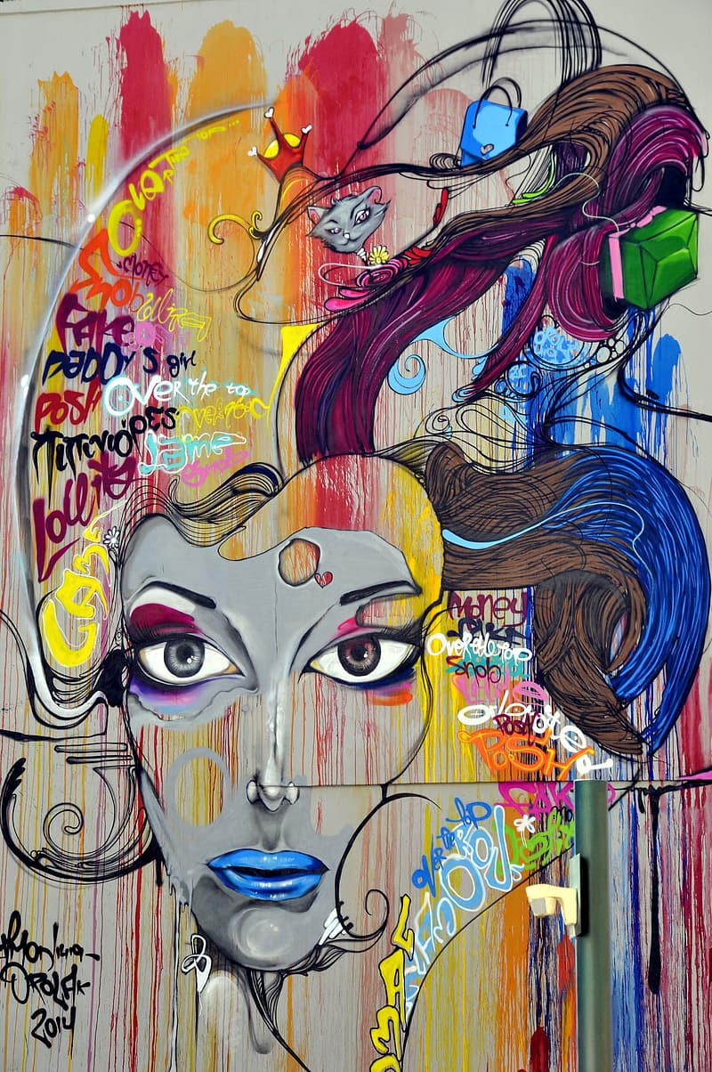Woman face abstract painting