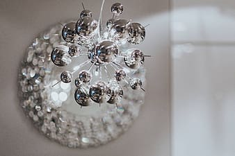 Beautiful round mirror adorned with crystals