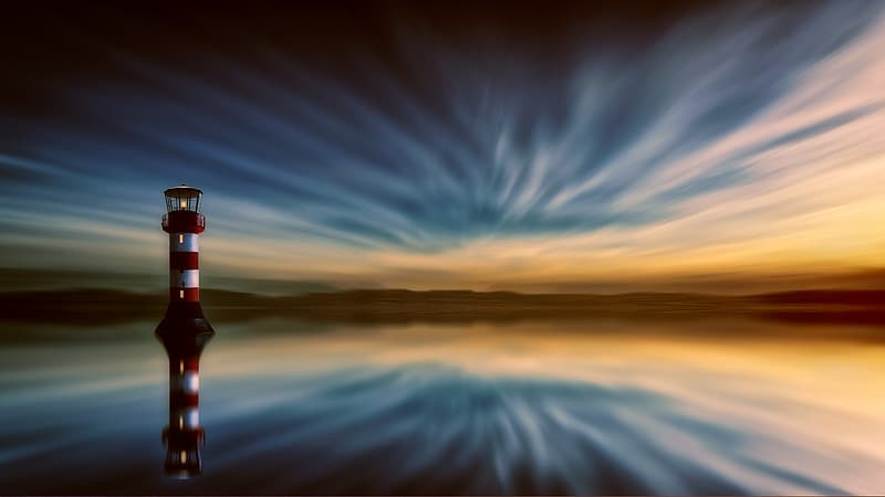Red and white striped lighthouse digital wallpaper