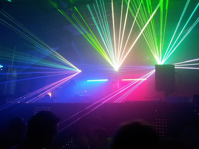 Disco lights on stage