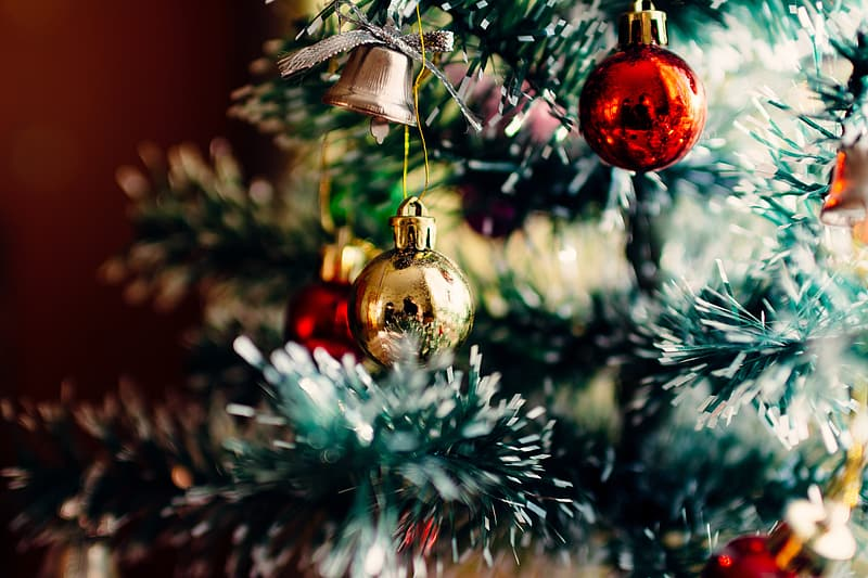 Selective focus photography of Christmas tree with baubles