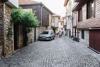 Narrow streets with old houses in the old town Nessebar, Bulgaria