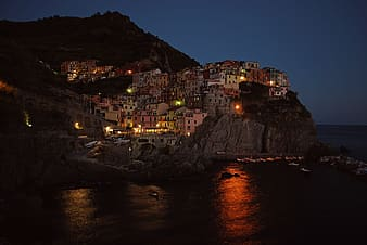 City lights on mountain during night time