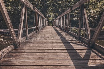 Photo of brown wooden bridge