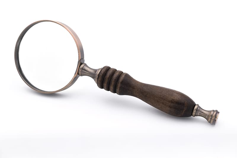Brown wooden handled magnifying glass