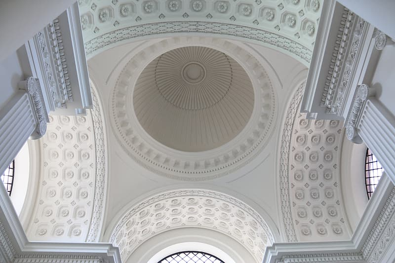 Low angle photo of white concrete ceiling