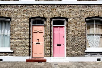 Pink and beige wooden 6-panel- doors