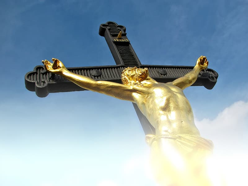 Low-angle view photo of crucifix