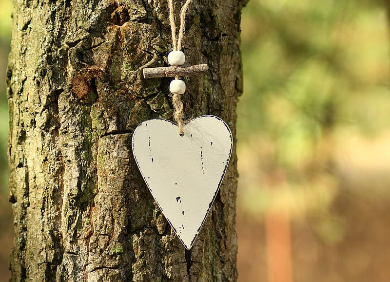 White heart shape hanging ornament
