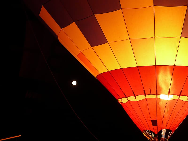 Yellow and red hot air balloon