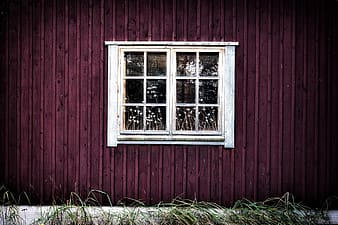 White wooden framed French window closed